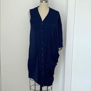 Helmut Lang Navy Blue Asymmetrical Drape Dress